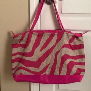 Handbags - Pink and White Large Tote